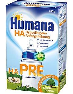 Humana HA Pre, Hypoallergene Anfangsnahrung - von Geburt an, 4er Pack (4 x 500g) - 1