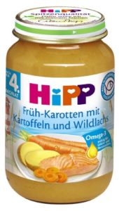 Hipp Früh-Karotten mit Kartoffeln und Wildlachs, 6er Pack (6 x 190 g) - 1