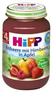 Hipp Erdbeere mit Himbeere in Apfel, 6-er Pack (6 x 190 g) - Bio - 1